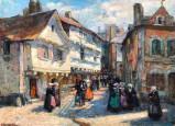 Rue animée à Saint-Goustan (Auray) par Fernand-Renault