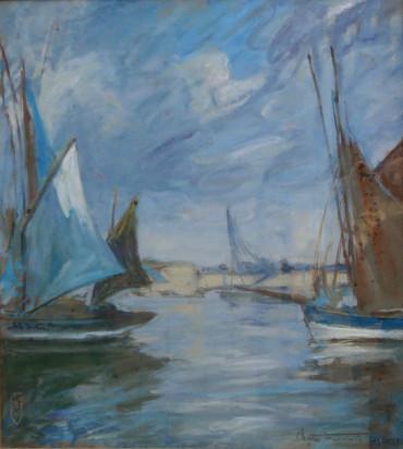 Nuages et voiles bleus par Fromuth