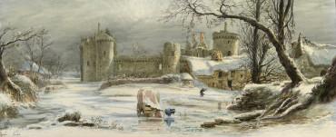 Les ruines du château de Suscinio sous la neige par Gustave Noël