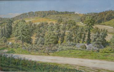Chaumière dans la vallée, aquarelle par Rivière