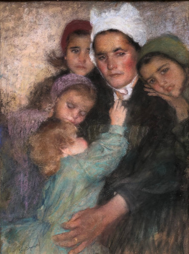 Femme de la campagne de Lesneven et ses enfants par Lucien Lévy-Dhurmer