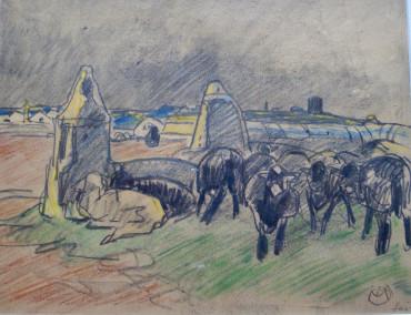 Moutons noirs par temps de pluie à l'île de Sein par Mathurin Méheut