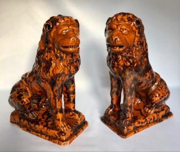 Paire de lions de Nevers XVIIIe