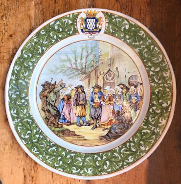 Grand plat Porquier-beau à décor de la noce de Kerfeunteun